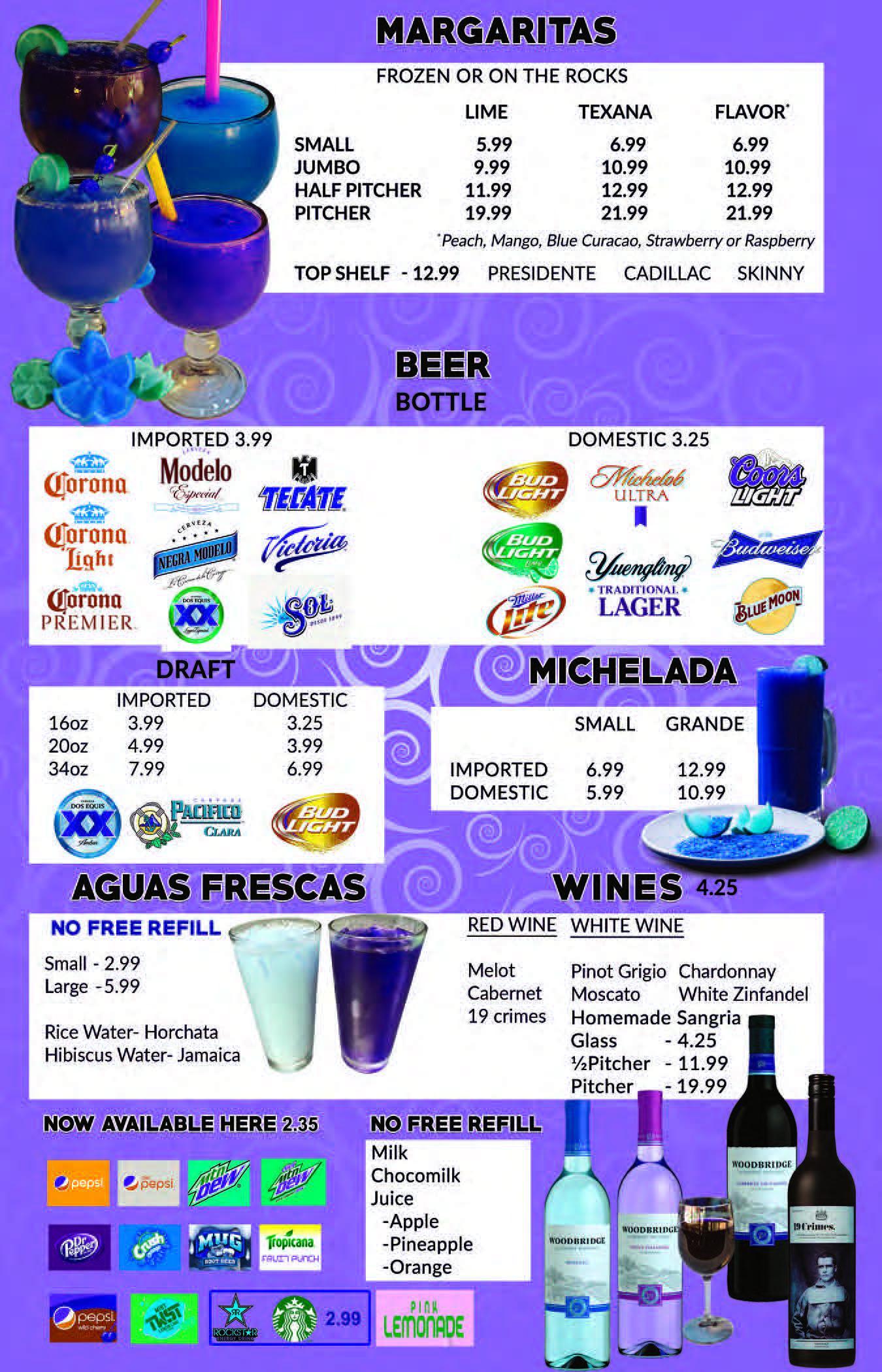 Drink Menu Image. Margaritas, Beer, Michelada, Aguas Frescas, Wines, Non-alchoholic